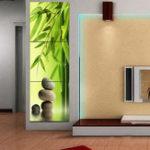 Оригинал Miico Hand Painted Three Combination Decorative Paintings Green Bamboo Wall Art For Home Decoration