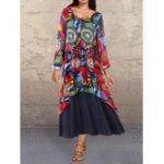 Оригинал V-образный вырез с граффити и контрастными цветами Maxi Платье