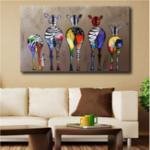Оригинал Ручная Роспись Масло Картины Пять Colorful Zebra Современное Искусство Для Украшения Дома Картины