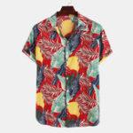 Оригинал Mens Leaves Печать с коротким рукавом гавайские рубашки