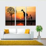 Оригинал Miico Ручная Роспись Три Комбинации Декоративные Картины Жираф На Закате Wall Art Для Украшения Дома