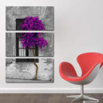 Оригинал Miico Hand Painted Three Combination Decorative Paintings Purple Tree Wall Art For Home Decoration
