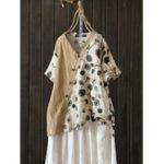 Оригинал S-5XL Женское блузка с принтом в горошек с принтом Винтаж