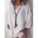 Оригинал Pure Color V-образным вырезом Кружева Полые эластичные манжеты Повседневная блузка