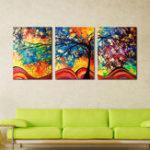 Оригинал Miico Ручная роспись три комбинации декоративных картин денежное дерево стены искусства для украшения дома