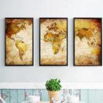 Оригинал Miico Hand Painted Three Combination Decorative Paintings World Map Wall Art For Home Decoration