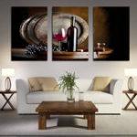 Оригинал Miico Hand Painted Three Combination Decorative Paintings Red W-ine Wall Art For Home Decoration