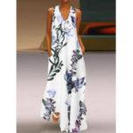 Оригинал S-5XL Elegant Женское V-образный вырез без рукавов с цветочным принтом Maxi Платье