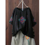 Оригинал Women Vintage Embroidery Side Button Short Sleeve T-shirts