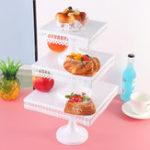 Оригинал White Square Cupcake Rack Свадебное Украшения для торта на Рождество Дисплей Кружевные подставки