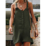 Оригинал Pure Color Button Casual Short Jumpsuit