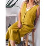 Оригинал Женщины Повседневная Свободная Pure Color V-образным вырезом без рукавов Платье