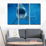 Оригинал Miico Hand Painted Three Combination Decorative Paintings  White Shark Wall Art For Home Decoration