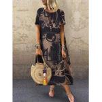 Оригинал Женские цветочные принты с короткими рукавами и боковыми карманами Платье