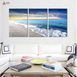 Оригинал Miico Hand Painted Three Combination Decorative Paintings Seaside Scenery Wall Art For Home Decoration