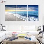 Оригинал Miico Hand Painted Three Combination Decorative Paintings Seaside Scenery Wall Art For Home Decoration