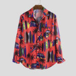 Оригинал Men Tropical Beach Printed Hawaiian Style Long Sleeve Lapel
