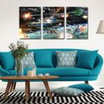 Оригинал Miico Ручная Роспись Три Комбинации Декоративные Картины Космический Корабль войны Wall Art Для Украшения Дома