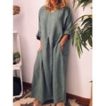 Оригинал Экипаж Шея Loose Casual Solid Maxi Платье