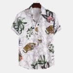 Оригинал Men Tiger Butterfly Шаблон Летний принт с коротким рукавом