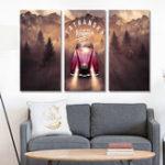 Оригинал Miico Ручная Роспись Три Комбинации Декоративные Картины Приключения Джунглей Wall Art Для Украшения Дома