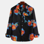 Оригинал Men Bright Flower Винтаж Грудной карман с принтом с длинным рукавом