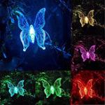 Оригинал 3PCS Солнечная Лампа LED Сад Свет На открытом воздухе Бабочка Птица Стрекоза Шаблон Путь украшения