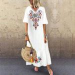 Оригинал Расклешенный богемный цветочный принт с V-образным вырезом Пляжный Maxi Платье