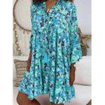 Оригинал Осенний цветочный принт с v-образным вырезом Loose Casual Рубашка Платье