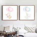 Оригинал Miico Hand Painted Combination Decorative Paintings Blue And  Pink Balloon Bear Wall Art For Home Decoration