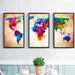 Оригинал Miico Hand Painted Three Combination Decorative Paintings Colorful World Map Wall Art For Home Decoration
