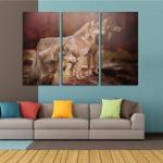 Оригинал Miico Ручная Роспись Три Комбинации Декоративные Картины Три Собаки Wall Art Для Украшения Дома