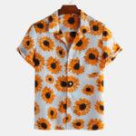 Оригинал Рубашки с короткими рукавами и принтом Summer Sunflower