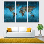 Оригинал Miico Hand Painted Three Combination Decorative Paintings Continental Map Wall Art For Home Decoration
