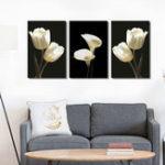 Оригинал Miico Ручная Роспись Три Комбинации Декоративные Картины Ботанический Белый Цветок Wall Art Для Украшения Дома