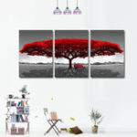 Оригинал Miico Hand Painted Three Combination Decorative Paintings Redwood tree Wall Art For Home Decoration