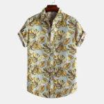 Оригинал Мужские рубашки с короткими рукавами с лацканами с надписью Hawaiian Style Лист