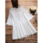 Оригинал              Женская Винтаж Полая сплошная цветная блуза с вышивкой