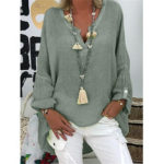 Оригинал              Chic Solid Color V Шея Блузка с длинным рукавом