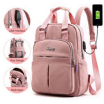 Оригинал              Женская мода Nylon Повседневная лоскутная USB-рюкзак