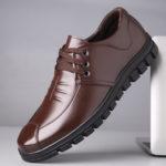 Оригинал              Чистый цвет Comfy Soft подошва зашнуровать повседневная кожаная обувь