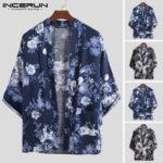 Оригинал              Мужской японский стиль с цветочным кардиганом кимоно Свободное пальто Кимоно Куртка юката Халат