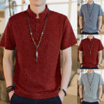 Оригинал              Мужская повседневная рубашка с коротким рукавом и воротником в китайском стиле