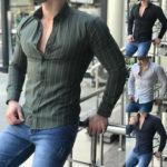 Оригинал              Мужская повседневная полосатая рубашка с длинным рукавом Платье Рубашка Формальные рабочие блузки на пуговицах