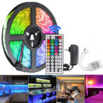 Оригинал              5M 300 LED Водонепроницаемы Строка Light Strip String Лампа 12 В 2835 SMD RGB + 24/44 Ключи Контроллер IR + адаптер питания США