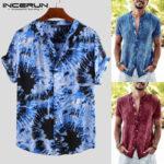 Оригинал              Мужская футболка с короткими рукавами Tie Dye Повседневная футболка с цветочным принтом Пляжный Тройники