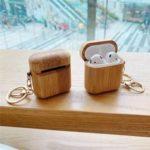 Оригинал              Bakeey Luxury Soild wood Наушник Хранение Защитное Чехол с Брелок для Apple AirPods 1 / Apple AirPods 2
