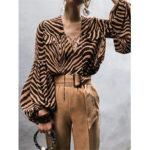 Оригинал              Женская полосатая принт с длинным рукавом Рубашка Свободная свободная блузка