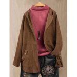 Оригинал              Сплошной цвет вельвет с длинным рукавом пальто с капюшоном