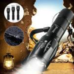 Оригинал              Тактический 90000LM T6 LED Фонарик Масштабируемый 5 режимов 18650 Факел Фокус + AAA